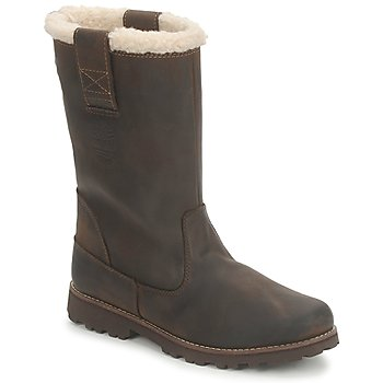 Shoes Girl High boots Timberland 8 IN PULL ON WP BOOT WITH SHEARLING Brown / Dark