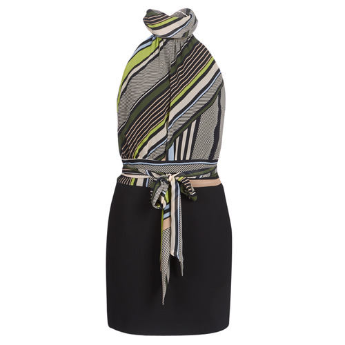 Clothing Women Short Dresses Marciano SEEING STRIPES Black / Multicolour