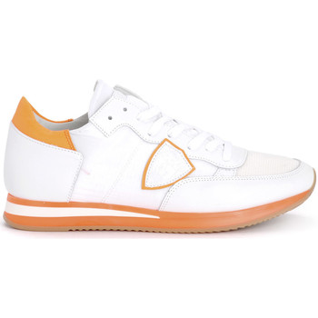 Shoes Men Low top trainers Philippe Model Tropez white and fluo orange leather and nylon sneaker White