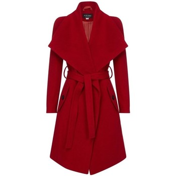 Clothing Women Trench coats Anastasia Winter Wool Cashmere Wrap Coat with Large Collar Red