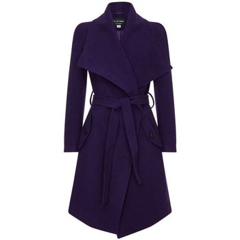 Clothing Women coats Anastasia Winter Wool Cashmere Wrap Coat with Large Collar Blue