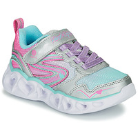 Shoes Girl Low top trainers Skechers HEART LIGHTS Silver / Pink / Led