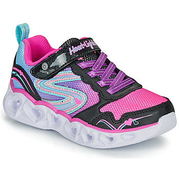 Shoes Girl Low top trainers Skechers HEART LIGHTS Black / Pink / Led