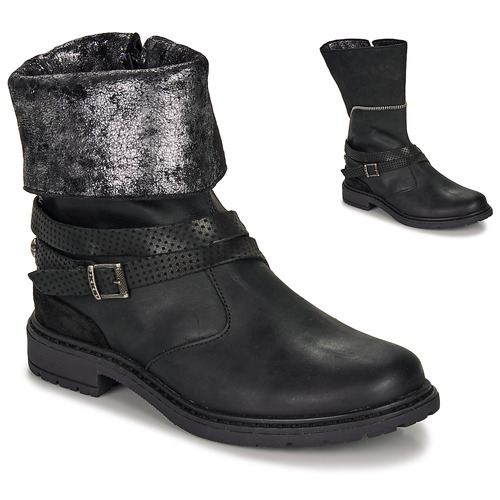 Shoes Girl High boots Ikks FLORA Black / Silver