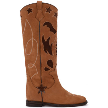 Shoes Women High boots Via Roma 15 caramel nabuk Texan boots Brown
