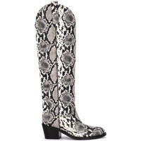 Shoes Women High boots Via Roma 15 python printed leather Texan boots Animalprint
