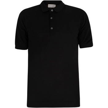 Clothing Men short-sleeved polo shirts John Smedley Men's Roth Pique Poloshirt, Black black