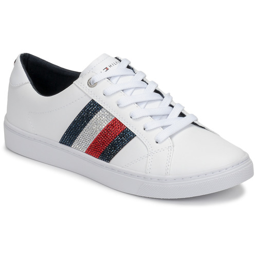Shoes Women Low top trainers Tommy Hilfiger CRYSTAL LEATHER CASUAL SNEAKER White