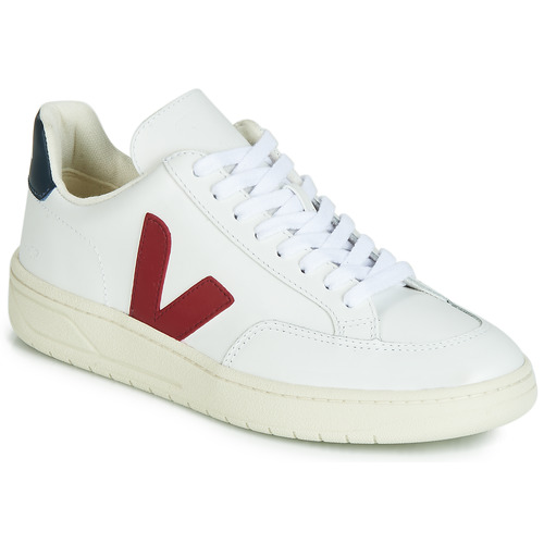 Shoes Low top trainers Veja V-12 LEATHER White / Blue / Red