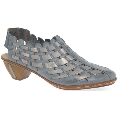 Shoes Women Sandals Rieker Sina Leather Woven Heeled Shoes blue