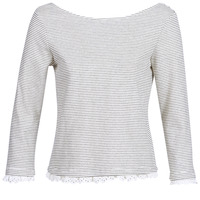 Clothing Women Long sleeved tee-shirts Betty London KARA White / Marine