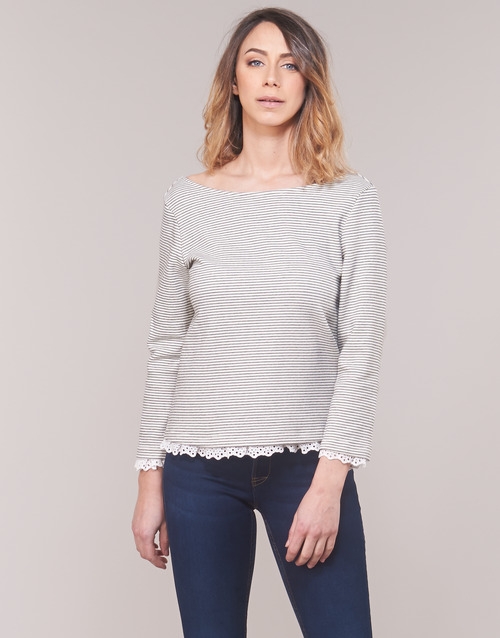 Clothing Women Long sleeved tee-shirts Betty London KARA White / Marine