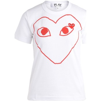 Clothing Women short-sleeved t-shirts Comme Des Garcons women's white t-shirt with red heart White