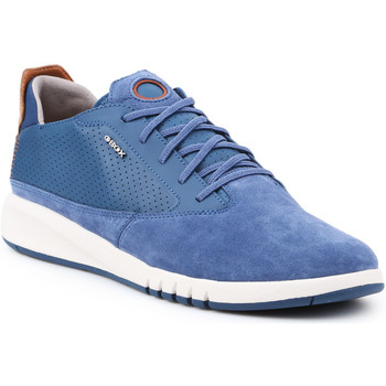 Shoes Men Low top trainers Geox U Aerantis A-Suede U927FA-02243-C4001 blue