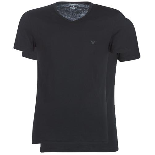 Clothing Men Short-sleeved t-shirts Emporio Armani CC722-PACK DE 2 Black