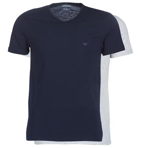 Clothing Men short-sleeved t-shirts Emporio Armani CC722-111648-15935 Marine / Grey