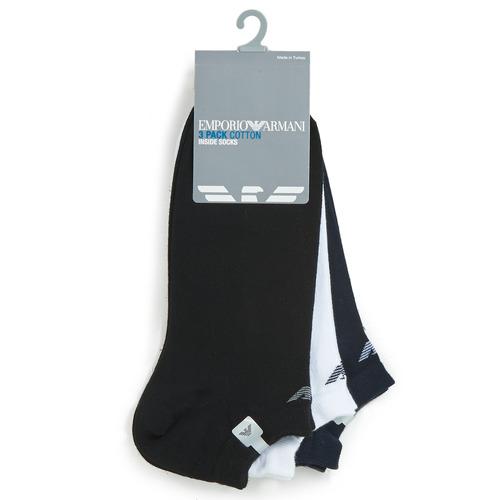 Shoe accessories Men Socks Emporio Armani CC134-PACK DE 3 White / Black / Marine