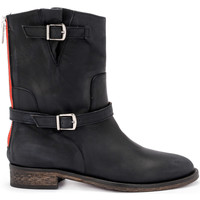Shoes Women Shoe boots Via Roma 15 Brooklyn black greasy leather ankle boots Black
