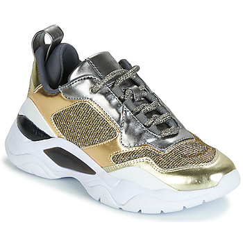 Shoes Women Low top trainers Guess FURNER Silver / Gold