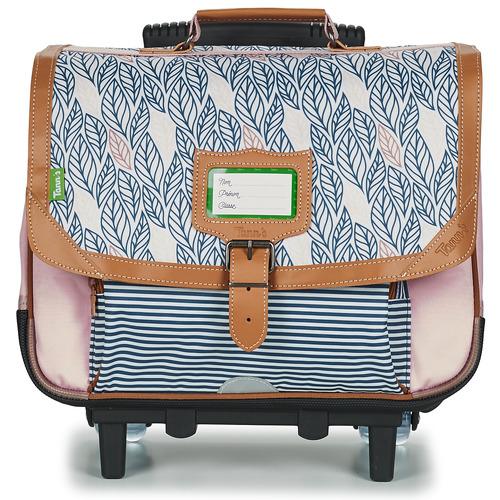 Bags Girl Rucksacks / Trolley bags Tann's CREATION FLORE TROLLEY CARTABLE 38 CM Pink