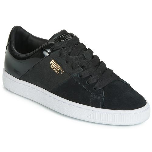 Shoes Women Low top trainers Puma BASKET REMIX Black / Gold