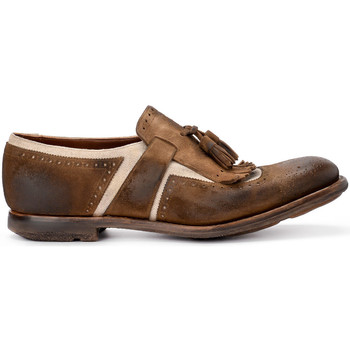 Shoes Men Loafers Church's Shanghai brown suede and linen loafer Brown