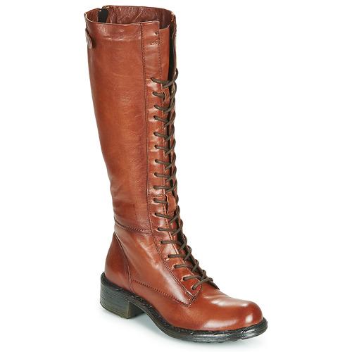 Shoes Women High boots Dream in Green WADDAH Cognac
