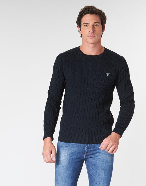 Clothing Men Jumpers Gant COTTON CABLE CREW Marine