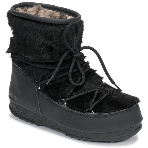 Shoes Women Snow boots Moon Boot MOON BOOT MONACO LOW FUR WP Black