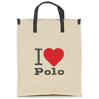 Bags Women Shopping Bags / Baskets Polo Ralph Lauren I HRT POLO CVS/LTHR Ecru