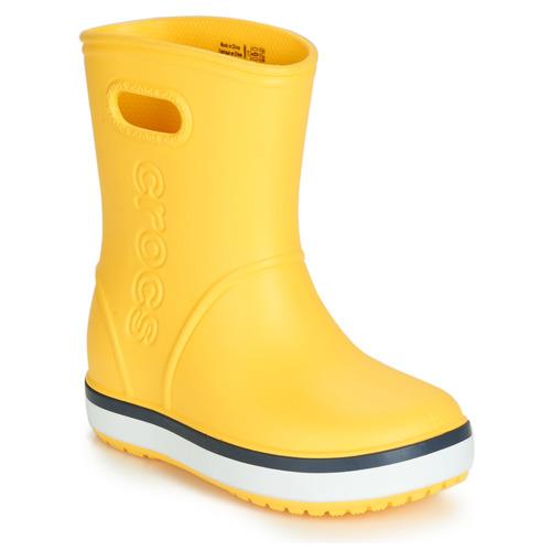 Shoes Children Wellington boots Crocs CROCBAND RAIN BOOT K Yellow / Marine