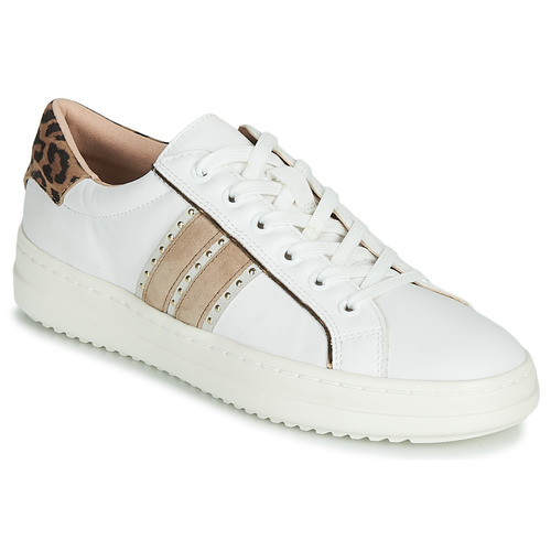 Shoes Women Low top trainers Geox D PONTOISE White / Leopard