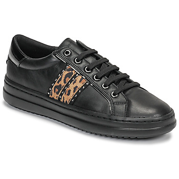 Shoes Women Low top trainers Geox D PONTOISE Black / Leopard