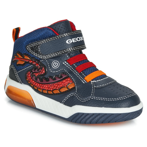 Shoes Boy Hi top trainers Geox J INEK BOY Blue / Red / Led