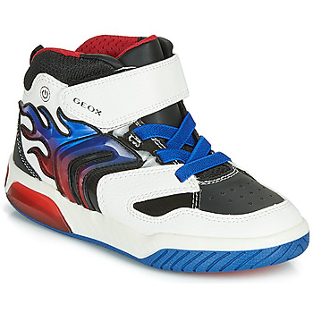 Shoes Boy Hi top trainers Geox J INEK BOY White / Blue / Led