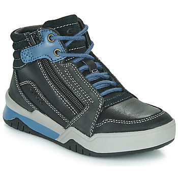 Shoes Boy Hi top trainers Geox J PERTH BOY Black / Blue