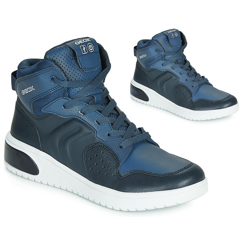 Shoes Boy Hi top trainers Geox J XLED BOY Blue / Led