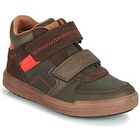 Shoes Boy Hi top trainers Geox J ARZACH BOY Brown / Orange