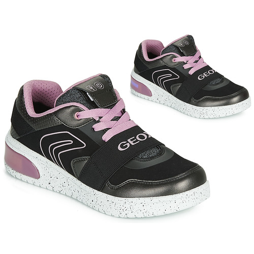 Shoes Girl Hi top trainers Geox J XLED GIRL Black / Pink / Led
