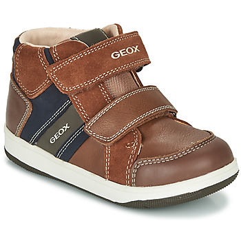 Shoes Boy Hi top trainers Geox B NEW FLICK BOY Brown / Blue
