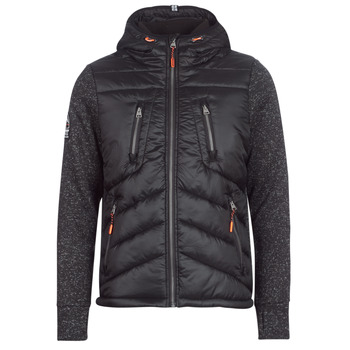 Clothing Men Duffel coats Superdry STORM HYBRID ZIPHOOD Black