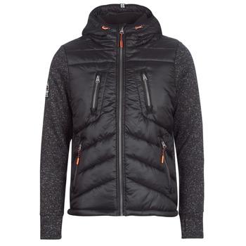 Clothing Men Duffel coats Superdry STORM HYBRID ZIPHOOD Black