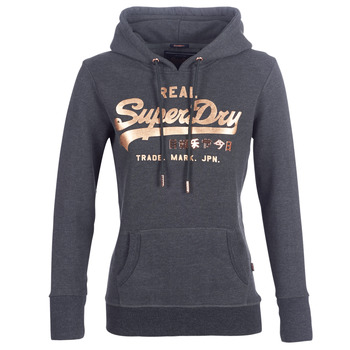 Clothing Women sweaters Superdry VINTAGE LOGO METALWORK ENTRY HOOD Grey