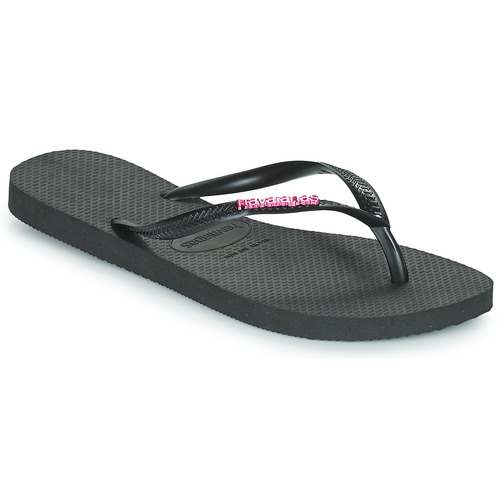 Shoes Women Flip flops Havaianas SLIM LOGO METALLIC Black