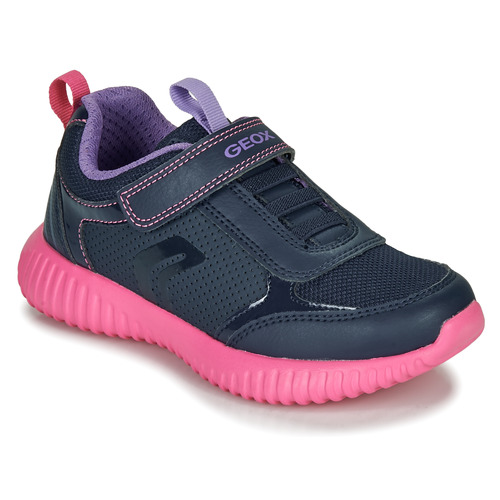 Shoes Girl Low top trainers Geox J WAVINESS Navy / Pink