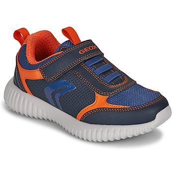 Shoes Boy Low top trainers Geox J WAVINESS BOY B Navy / Orange