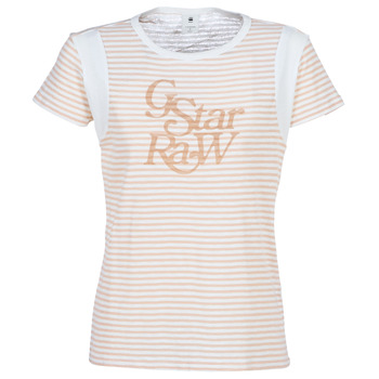 Clothing Women short-sleeved t-shirts G-Star Raw FIRN White / Pink