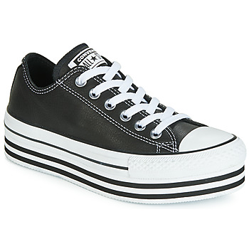 Shoes Women Low top trainers Converse CHUCK TAYLOR ALL STAR LAYER BOTTOM LEATHER OX Black / White / Black