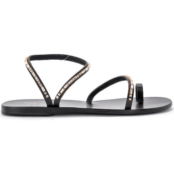 Shoes Women Sandals Ancient Greek Sandals Apli Eleftheria Diamonds black leather sandal Black