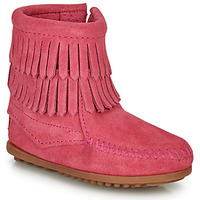Shoes Girl Mid boots Minnetonka DOUBLE FRINGE SIDE ZIP BOOT Pink